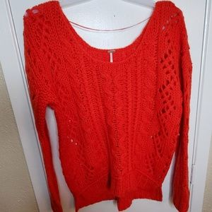 Free People Wildfire Red Bulky Sweater